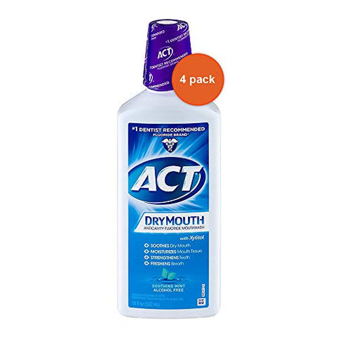 ACT Total Care Dry Mouth Anticavity Mouthwash, Soothing Mint 18 oz ( Pack of 4)