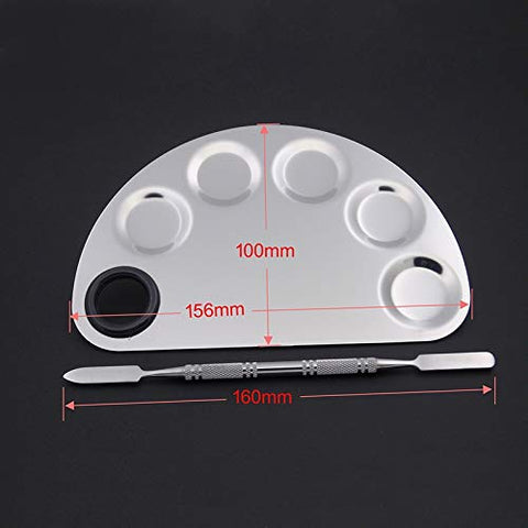 CHENZHIQIANG Makeup Tools Make-up Semicircle Stainless Steel Palette 156x100mm