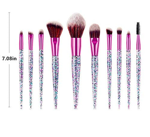 10 Piece Glitter Glam Makeup Brush Set