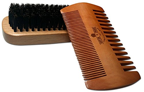 Beard Brush & Comb Set For Men's Care | Giveaway Mustache Scissors | Gift Box & Travel Bag | Best Ba