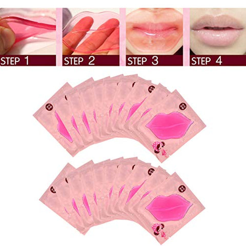 CCbeauty 20-Pack Pink Collagen Crystal Lip Mask Lip Plumper Mask Gel Care Mask Moisturer Essence Make Your Lip Attractive and Sexy
