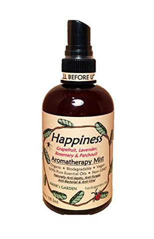 Happiness Aromatherapy Body Room Mist Spray   Lavender, Grapefruit, Rosemary, Patchouli   100% Pure