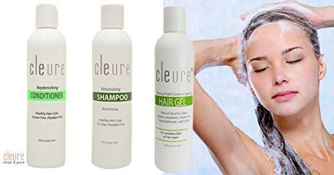 Cleure Hypoallergenic Volumizing Shampoo for Sensitive Skin | Fragrance - Formaldehyde - Paraben - Salicylate - Gluten - Sulfate Free | Vegan Formulation | 16 Fl Oz
