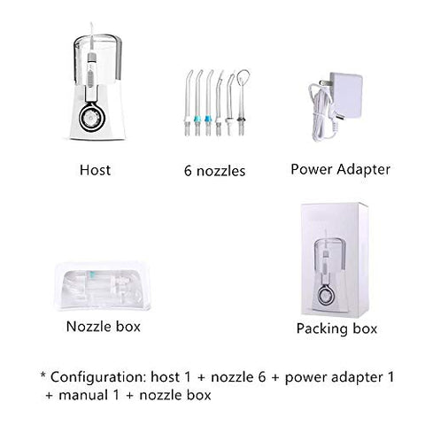 Water Flosser - Dental Oral Irrigator - 600ML Water Tank, Waterproof 3 Modes, 6 Jet Tips and Nozzle Storage Box