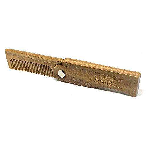 Folding Beard Comb W/Carrying Pouch For Men   All Natural Wooden Beard Comb W/Gift Box   Green Sanda