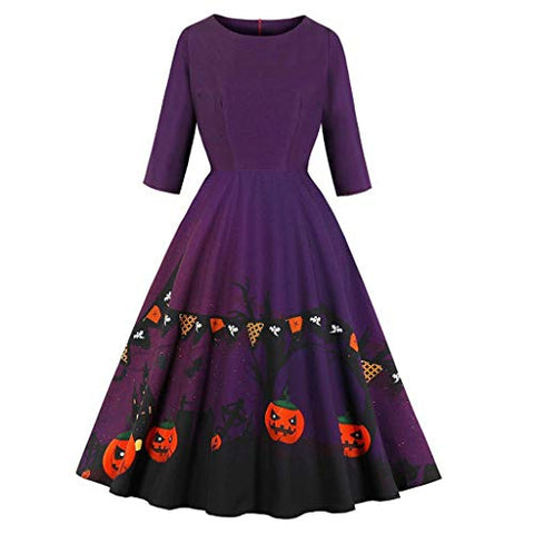 HNTDG Women's Halloween Pumpkin Printed Dress O-Neck Half Sleeve Zipper Hepburn Party Swing Dresses Purple