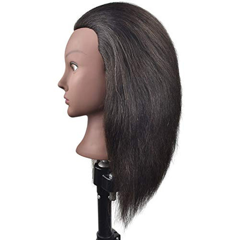 Afro Training Head Cosmetology Mannequin Head with Hair for Braiding Practice Head Training Mannequin Dummy Heads with Free Clamp
