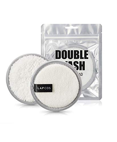 LAPCOS Makeup Removal Double Wash Cleansing Pad, Dual Sided Daily Use Wipe for Exfoliation and Clear Skin, Eco Friendly Washable Face Cloth, 2 Pack