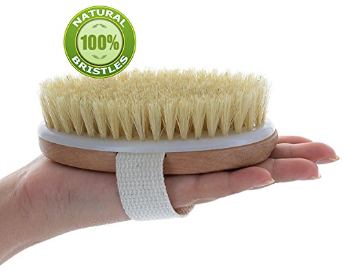 Dry Brush, Body Brush For Cellulite And Lymphatic, Natural Bristle Skin Exfoliator Brush For Remove
