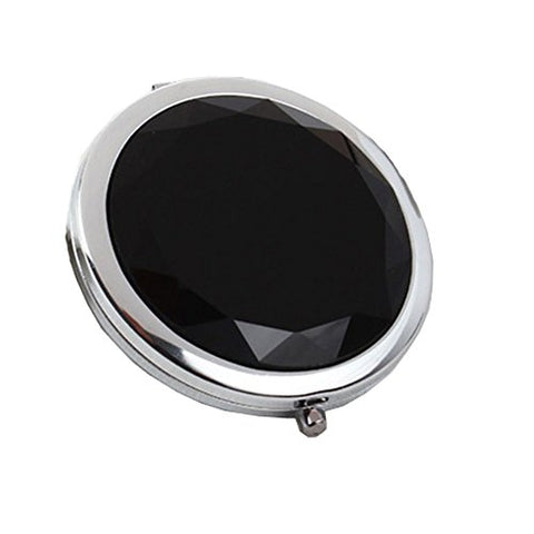 Stylish Crystal Double Cosmetic Mirror Portable Makeup Mirror, Black