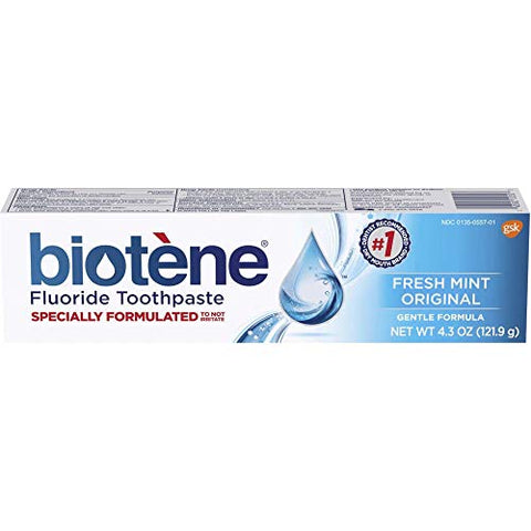 Biotene Fresh Mint Original Gentle Formula Fluoride Toothpaste, 4.3 Ounces