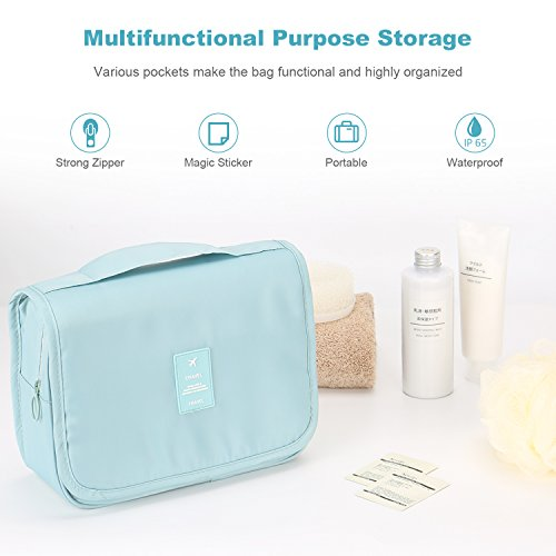 Toiletry Bag,Mossio Lightweight Canvas Bathroom Organizer Travel Essentials Handbag Sky Blue