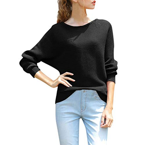 Willow S Womens Knit Top Casual Loose Bat Sleeve Solid Color Long Sleeve Round Neck Soft and Comfy Bottoming Sweater Top Black