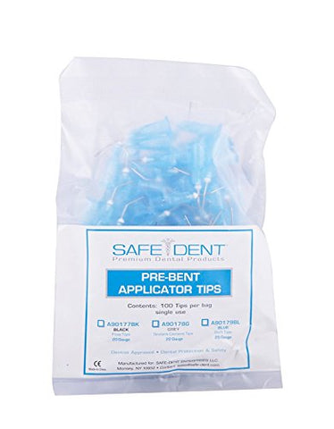 Dental Pre-bent Applicator Tips 100/pk, Pre-bent Dental Flow Tips (25 Gauge BLUE)