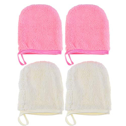Beaupretty 4pcs Makeup Remover Pad Microfiber Face Cleansing Gloves Reusable Facial Cloth for Women Girls (White/Pink)