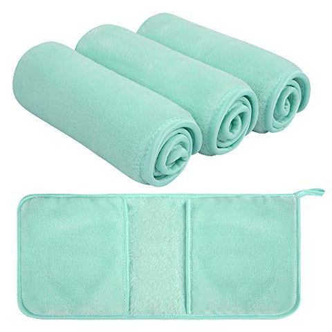 Sunland Reusable Makeup Remover Cloth Microfiber Face Cloth Facial Cleansing Glove Just With Water Suitable for All Skin Types Washcloth Light green 4Pack