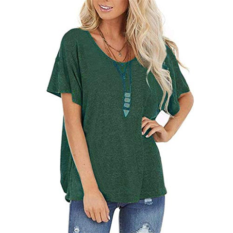 Eoeth Short Sleeve for Women Round Neck Tee Cutout Back Twists Summer Loose T Shirts Top Open Back Casual Shirt Tee Green