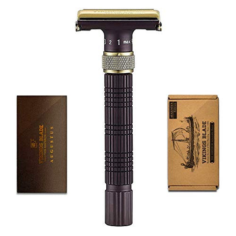 VIKINGS BLADE The Emperor Adjustable Safety Razor, AUGUSTUS Edition (Vintage Bronze & Cognac)