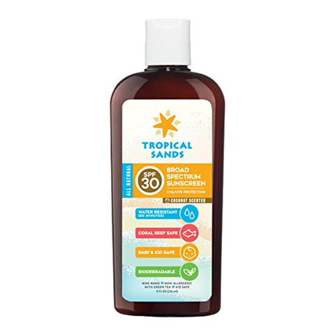 All Natural SPF 30 Sunscreen, Coconut Scent, Biodegradable, Reef Safe by Tropical Sands, Water Resis