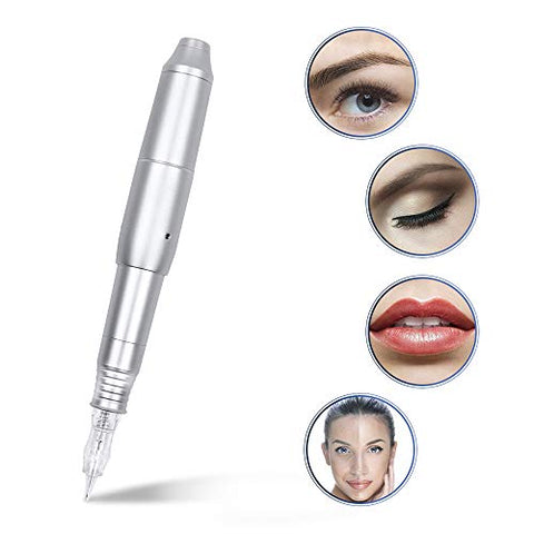 Permanent Makeup Eyebrow Tattoo Machine Pen-BMX Professional Rotary Microblading Pen with 3 Cartridge Needles For Eyeline Lip(Silver)