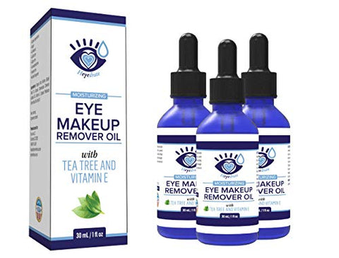 Gentle, Waterproof Eye Makeup Remover - Moisturizing and Organic with Vitamin E and Tea Tree Oil to Support Dry, Itchy Eyelids and Irritated Eyes (3 Pack)