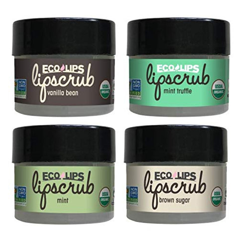 Eco Lips LIP SUGAR SCRUB 4-Pack (4-0.25oz jars) 100% Organic Lip Care Treatment with Organic Sugar & Coconut Oil - Gently Exfoliate & Polish Dry, Flaky Lips, 100% Edible (Variety 4-pack)