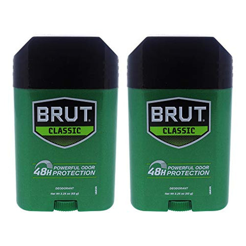 Classic 48H Protection Deodorant Stick by Brut for Men - 2.25 oz Deodorant Stick - Pack of 2