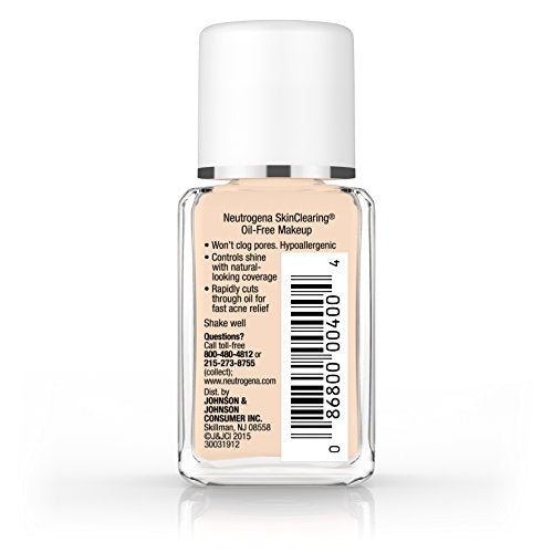 Neutrogena Skin Clearing Oil Free Acne And Blemish Fighting Liquid Foundation With Salicylic Acid Acn