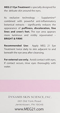 Meg 21 Bright And Firm Eye Treatment, Reverses Fine Lines, Puffiness, Wrinkles Around And Under Eyes