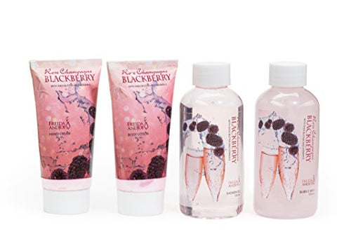 Glamorous Bathroom Gift Set with Celebrity Rose Champagne Blackberry Scent for Women: Full Portable Spa Experience in a Pink Metallic Bag with Hand Cream, Shower Gel, Bubble Bath, and Body Lotion