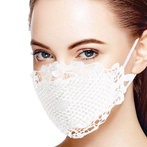 Lace Face_Masks Washable Reusable, Breathable_Mask with Adjustable Earloop for Face Anti Dust Pollen, Daily Protection for Weddings and Parties