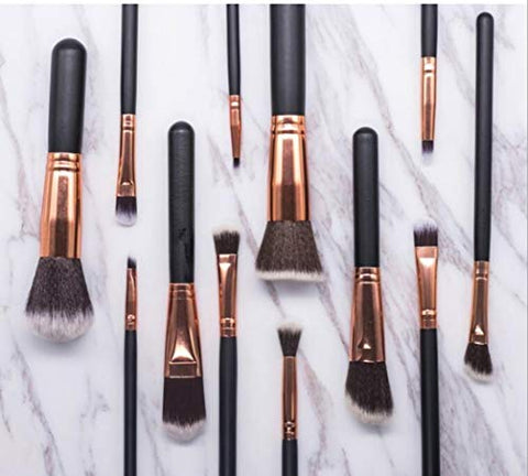 Black Rose Gold 15 Piece Professional Makeup Brush Set.