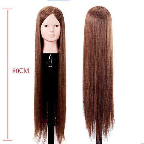 Hair Mannequin Head 80 cm 100% Real Hair Hairdressing Mannequin Doll Hairdressing Training Head Exercise Model Styling Head,Makeupface,withoutbracket