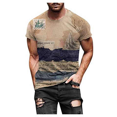 Summer Plus Size Shirts Tops for Men Spring Summer Casual Slim 3D Printed Short Sleeve T Shirt Top Blouse