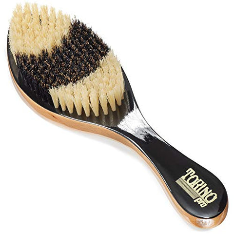 Torino Pro Medium Curve Brush By Brush King - #1640 - Patented Duet Collection- Different color on each side - Curved brush for 360 waves -