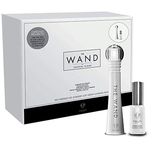 Crystal Clear The Wand Facial Massager - High Frequency Sonic Wand - Anti Wrinkle and Depuffer Facial Tool + Pharma Grade Hyaluronic Acid Serum (Single Wand Set)