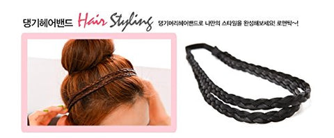 Hairpiece 2 lines braiding hair Ring band for Girl, #black, Korean style, Kpop style, Korean Hair style