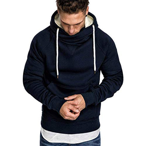 Men's Lightweight Jacket Hoodie Casual Sweatshirt Slim Fit Solid Color with Front Pocket Outwear Tops Navy