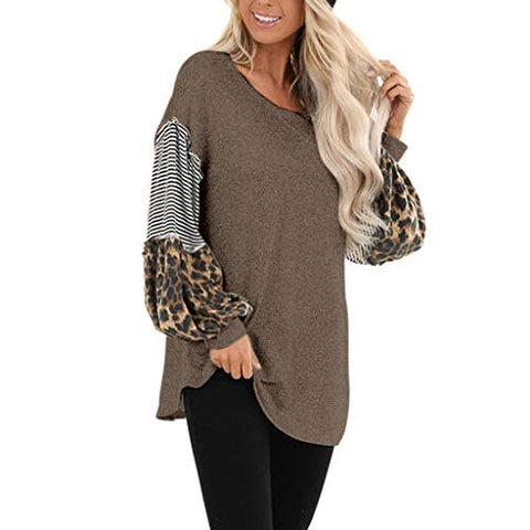 Willow S Womens Fashion Leopard Stripe Stitching Long Sleeve Round Neck Puff Sleeve Autumn Casual Pullover Tops Coffee