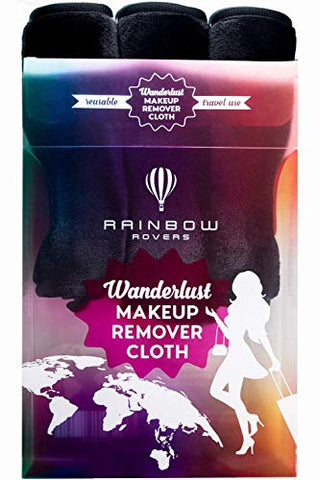 RAINBOW ROVERS Set of 3 Makeup Remover Cloths | Makeup Towel | Suitable for All Skin Types | Reusable & Ultra fine Makeup Wipes | Removes Makeup with just Water | Chic Black