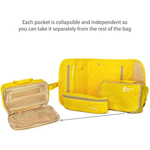 Miami CarryOn 3 in 1 Toiletry Bag - Foldable Hanging Toiletry Bag (Yellow)