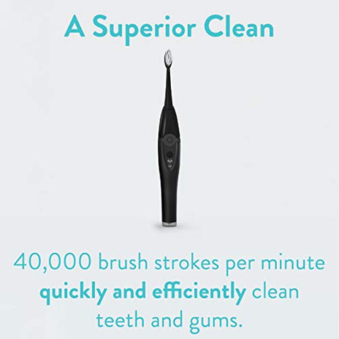 TAO Clean Sonic Toothbrush and Cleaning Station - Deep Space Black - Electric Toothbrush with Patented Docking Technology, Ergonomic Handle, Dual Speed Settings