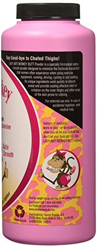 Lady Anti Monkey Butt | Women's Body Powder | Prevents Chafing And Absorbs Sweat | Talc Free | 6 Oun