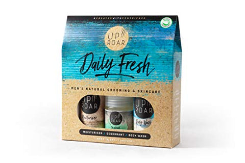 UPROAR 'Daily Fresh' Skincare Gift Set for Men - Pack Includes Natural Body Wash, Natural Roll On Deodorant & Moisturiser. (All Travel Size)