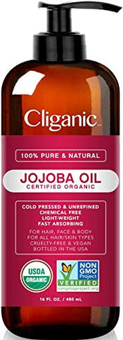 Cliganic USDA Organic Jojoba Oil 16 oz with Pump, 100% Pure | Bulk, Natural Cold Pressed Unrefined Hexane Free Oil for Hair & Face | Base Carrier Oil | Cliganic 90 Days Warranty