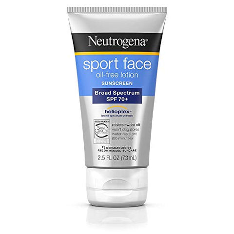 Neutrogena Sport Face Oil-Free Lotion Sunscreen with Broad Spectrum SPF 70+, 2.5 fl. Oz (2 Pack)
