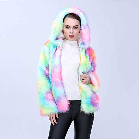 Beyonds Women Winter Luxury Multicolour Jacket Hooded Warm Thick Cardigan Outerwear Coat Loose Overcoat