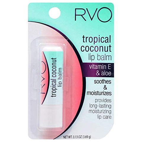 RVO (1) Stick Tropical Coconut Lip Balm - Vitamin E & Aloe - Soothes & Moisturizes - Provides Long-Lasting Moisturizing Lip Care