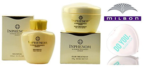 Inphenom SHAMPOO & Hair TREATMENT DUO Set, superior treatment effect by Milbon (with Sleek Compact Mirror) (8.5 oz + 8.8 oz - Retail DUO Kit)