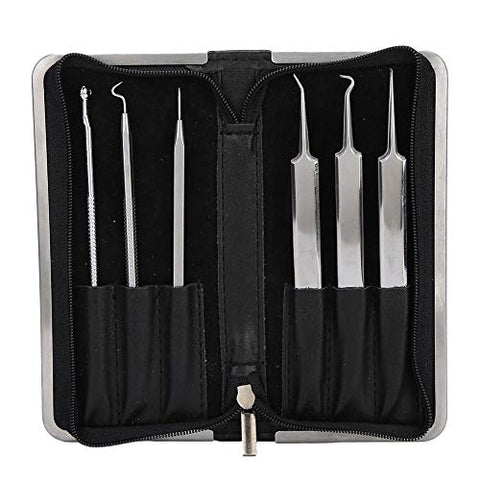 6Pcs Blackhead Remover Comedone Extractor Set, Stainless Steel Stainless Steel Pimple Removal Face Cleaning Tool, Treatment for Blemish and Whitehead Popping, Fits for Men and Women